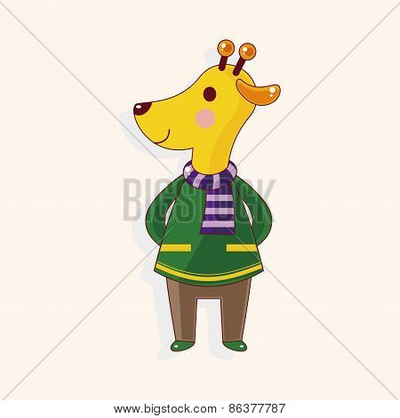 Animal Giraffe Winter Cartoon Theme Elements