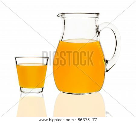 Apricot Juice In A Glass And Carafe
