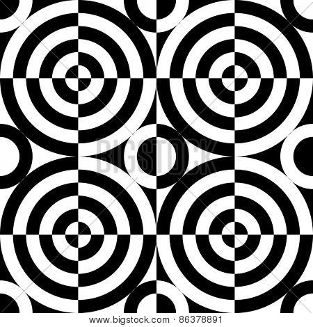 Seamless Circle Background. Abstract Monochrome Pattern