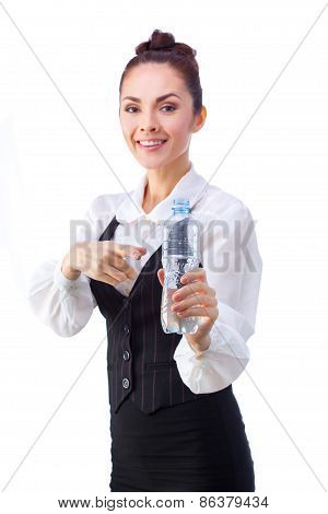 Confident businesswoman having drink from water bottle. All isolated on white background.