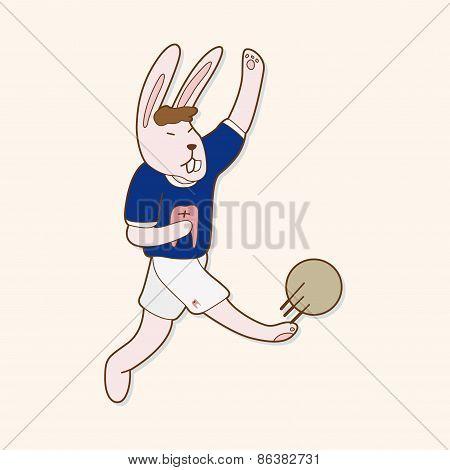 Animals Play Football Cartoon Theme Elements