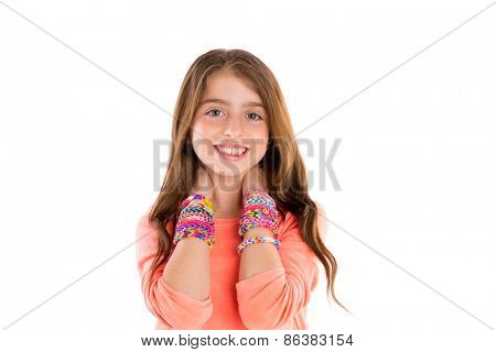 Loom rubber bands bracelets blond kid girl smiling hands in neck on white background