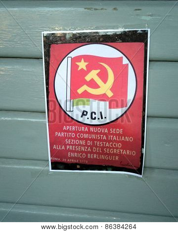 Leaflet Of Italian Communist Party Dated 1973