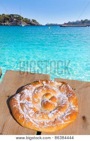 Majorca Porto Cristo beach in Manacor of Mallorca Balearic island ensaimada photo mount