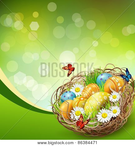 background with Easter nest and eggs on spring background with bokeh