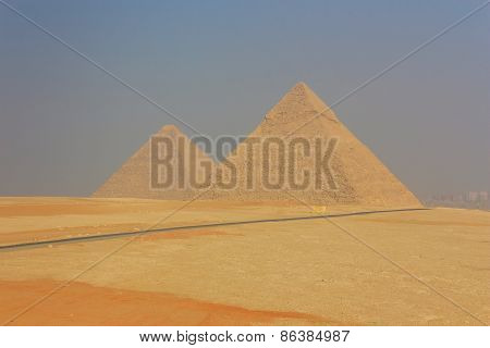 General View Of The Giza Pyramids In Cairo. Egypt