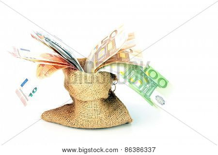 Bag full of euro money notes