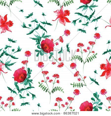 Dog-rose And Flowers Watercolor Seamless Vector Print