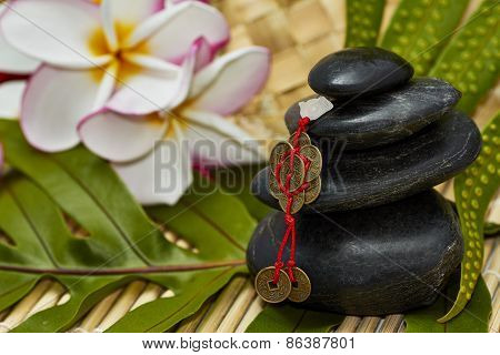Black Rocks With Feng Shui Chinese Coins