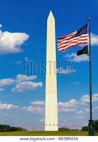 Washington Monument and flags in District of Columbia DC USA