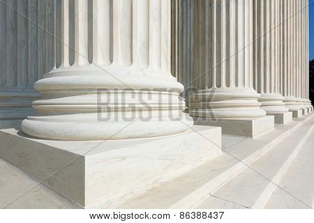 Supreme Court of United states columns row in Washington DC