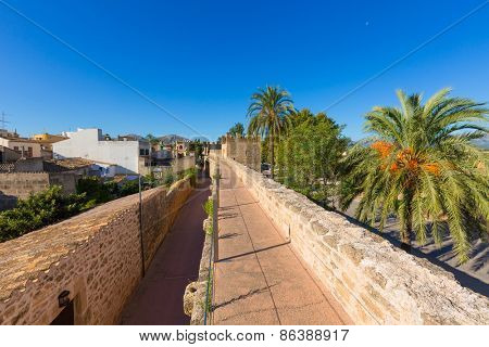 Alcudia Old Town fortress wall in Majorca Mallorca Balearic island of Spain