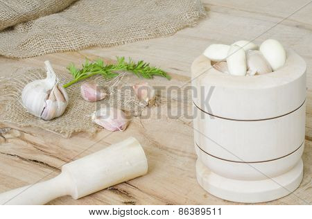 Garlic And Parsley Leaves On Canvas Isolated