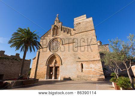Alcudia Old Town Sant Jaume church in Majorca Mallorca Balearic island of Spain
