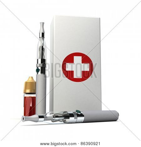 3D rendering of a pair of e-cigarettes with a box with a red cross and a refill bottle