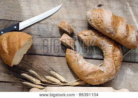 Doughnut Bread And Cereal French Bread Over Wood