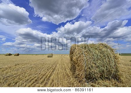 circular haystack in windmill farm field with white grey clouds on blue sky