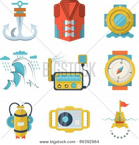 Nautical flat color design vector icons