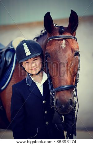 The Horsewoman's Portrait With A Sports Horse.