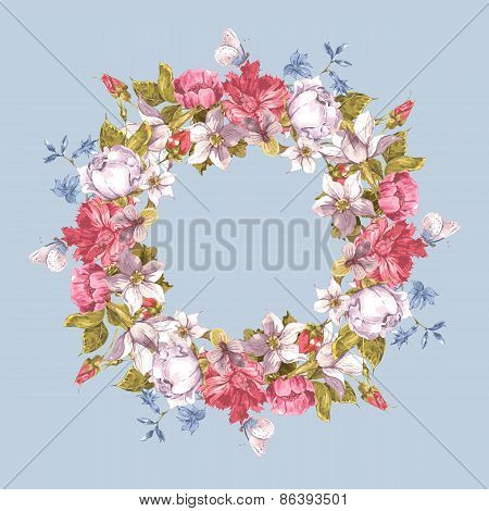 Invitation Card with Floral Wreath.
