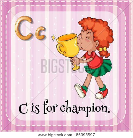 Flashcard letter C is for champion