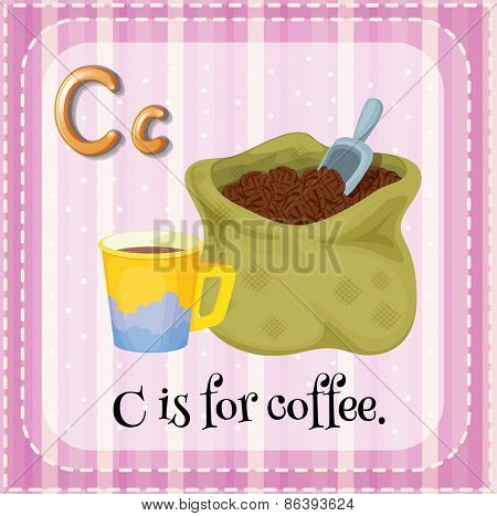 Flashcard letter C is for coffee