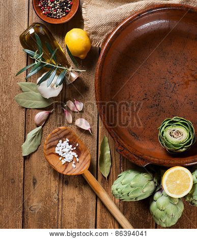 Artichokes Preparation, View From Above.