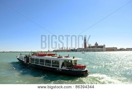 Passengers Of Waterbus (vaporetto) In Grand Canal Venice