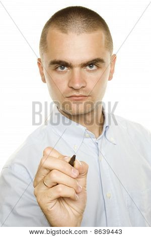 Businessman with pen in hand