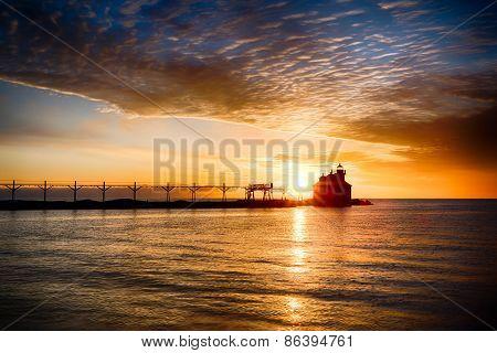 Sunrise Over Great Lake