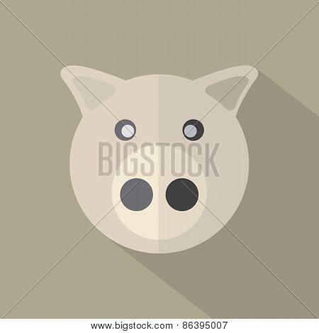 Modern Flat Design Pig Icon.