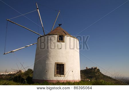 Windmill Against Palmela Castle