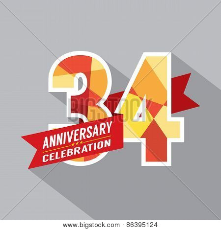 34Th Years Anniversary Celebration Design.