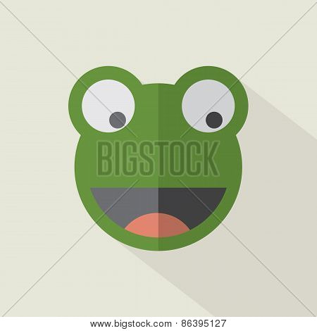 Modern Flat Design Frog Icon.