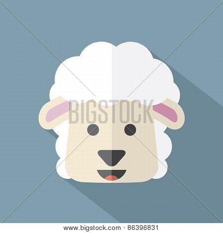 Modern Flat Design Sheep Icon.