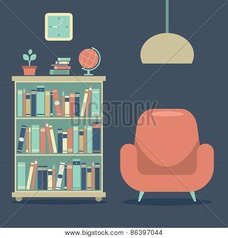 Modern Design Interior Sofa And Book Cabinet.