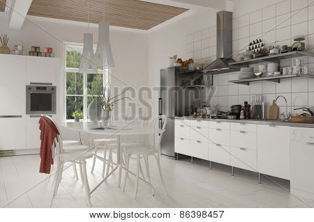 Large rustic live in kitchen with table and chairs, white wooden cabinetry and built in appliances on a white hardwood floor.  3d Rendering