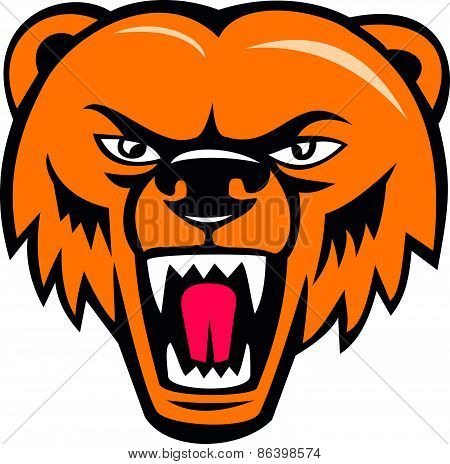 Grizzly Bear Angry Head Cartoon