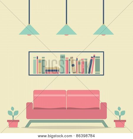 Modern Design Interior Sofa And Bookshelf.