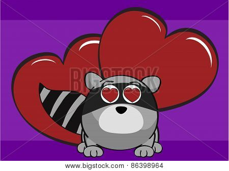 inlove raccoon cartoon background