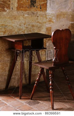 Vintage Wooden Chair and Table