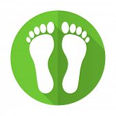 picture of flat-foot  - foot green flat icon 