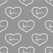 stock photo of heartbeat  - Heartbeat white and black seamless pattern for web design - JPG