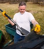 foto of shingles  - Man wearing work gloves taking shingles off roof - JPG