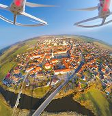 image of attack helicopter  - Aerial view from drone to small town in Western Bohemia  - JPG