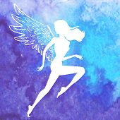 stock photo of blue angels  - Vector white silhouette of running woman with angel wings flying over watercolor blue hand drawn background - JPG