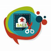 foto of coupon  - Shopping Sale Coupon Flat Icon With Long Shadow - JPG