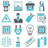 picture of electrical engineering  - set of 16 electrical engineering icons on white background - JPG