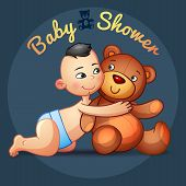 picture of baby bear  - Asian baby boy with hugs  Teddy Bear toy on a grey background - JPG