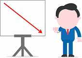 picture of faceless  - Faceless cartoon businessman standing gesturing stop beside chart with arrow going down - JPG